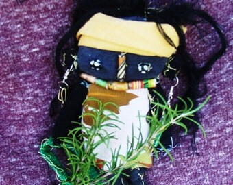 African Tribal Shaman Witch Altar Fabric Doll Nyombi Darkmoon
