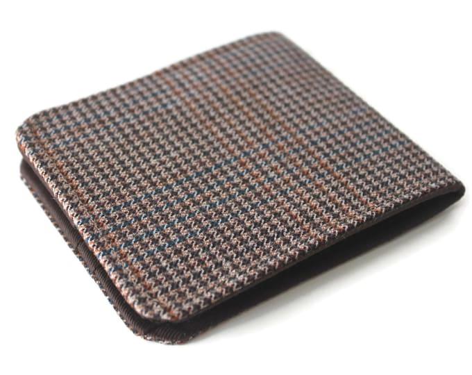 Ultra Thin Mens Billfold Wallet / Vintage Houndstooth Tweed / OhSoRetro