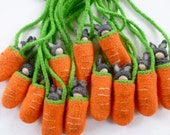 Bunny Peg doll necklace doll in carrot  pouch ready to ship