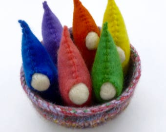 Gnomes in a basket Waldorf inspired ready to ship