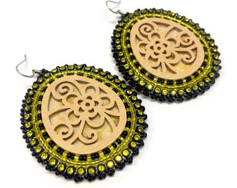 Black & Yellow Drop Earrings