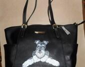 Schnauzer Dog Hand Painted otebag handbag Bag Purse Shoulder Bag Vegan