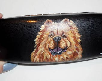 Red Chow Chow Dog Hand Painted Eyeglass Case Vegan