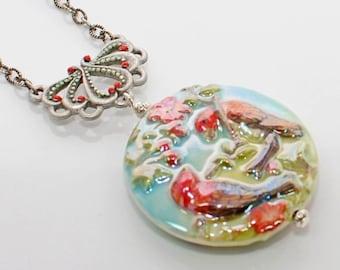 Lovebirds Pendant Necklace Let Lovebirds Rule - Statement Pendant - Bird Jewelry - Bird Pendant
