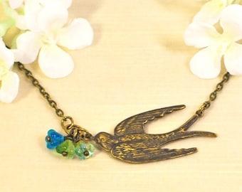 Golden Bird Pendant Necklace Flight of Spring - Bird Jewelry