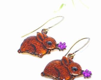 Rabbit Earrings Daisy and Duke Bunny - Brown Bunny Earrings - Bunny Rabbit Jewelry