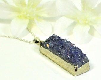 Amethyst Druzy Dreamy -Layering Druzy - Druzy Necklace - Raw Crystal Necklace - Amethyst Pendant - February Birthstone - Mother's Day Gift