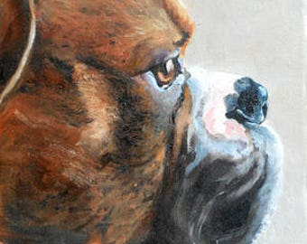 "Boxer Dog Portrait PRINT from my Original Oil Painting, 8"" x 10"""