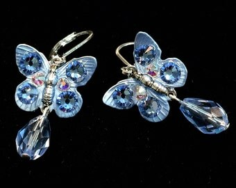 Butterfly Earrings with  Sparkling Light Sapphire Crystals