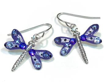 Dragonfly Earrings Sparkling Purple