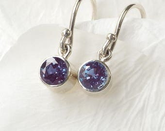 June Birthstone Earrings | Alexandrite | Sterling Silver | Handmade in the UK