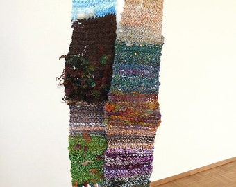 Handknit long patchwork scarf made with handspun luxury yarn - READY TO SHIP