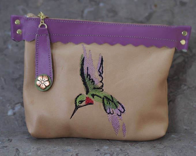 Hummingbird Zippered Leather Pouch