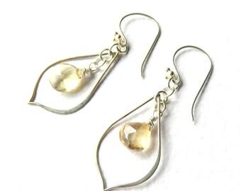 Yellow Quartz Earrings,  Long Briolette Dangle Earrings, Modern Oval Hoops with Gemstones, Wire Wrapped Quartz, Pastel Yellow Drops