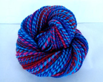 Handspun yarn, merino yarn, self striping yarn, bulky yarn, chunky yarn, dolls hair, quick knit yarn, PINK DIP, 4oz, 90yds