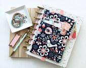 Flower planner bag - pen holder - BUJO cover - Journal - Planner stickers organizer - pen pouch - planner accessory - floral planner cover