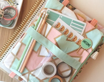 Mint and peach pencil case, planner accessories pouch, planner cover, planner band - Fits Big Happy Planner, Deluxe EC Planner and more