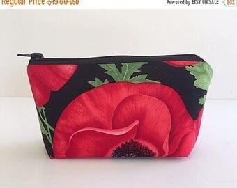SALE small makeup bag, poppy, red, cosmetic bag,  organizer pouch,  girlfriend gift,  zipper bag, zipper pouch,