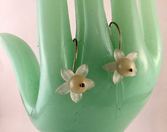 Hand bent sterling earrings  with vintage lucite flower and light green stones artisan design jewelry