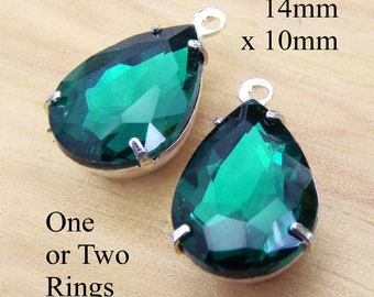 Emerald Green Glass Beads - 14mm x 10mm Pear or Teardrop - Silver or Brass Prong Settings - Rhinestone Glass Gems - One Pair
