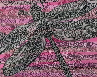 The dragonfly 6x6 mixed media on wood
