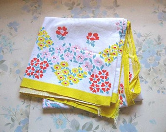 Vintage Tablecloth, Cotton, Flowers, Yellow, Red, Pink, Green, Soft, Crisp, Cutter