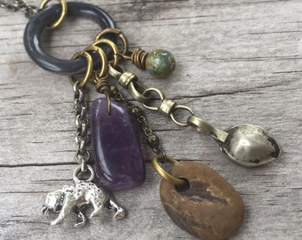 SPIRIT Animal BEAR TOTEM Necklace with vintage, charms, purple Amethyst gemstone & Antique Brass chain