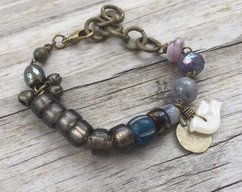 PEACE DOVE Bracelet Boho Style with Modern Crow beads, Vintage Gypsy Charm and BIRD Button