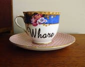 Whore hand painted vintage teacup set recycled mismatched bad boys and girls display decor teatime