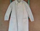 Vintage 1940s Work Coat Workwear Shop Butcher Meat Packer Mens 48