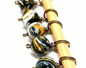 Fun gold, white and black stone bead stitch markers- set of 5, fit 5.5 mm knitting needles