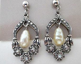 Pearl Marcasite Vintage Drop Dangle Earrings - Avon Romantic Renaissance Pierced Earrings in Original Box - Wedding Bride Jewelry Gift