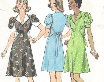 Simplicity 6396 - VINTAGE 1970s - Puff Sleeve 1940s STYLE DRESS  - Sewing Pattern - Size 16 - 38 Bust