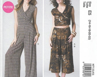 McCall's 7133 - JUMPSUIT, Crop TOP and PANTS - Sewing Pattern - Sizes 14-16-18-20-22 - Uncut