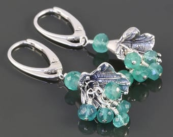 Genuine Emerald Earrings. Sterling Silver Flowers. Lever Back Ear Wires. May Birthstone. Cluster Earrings. s17e052