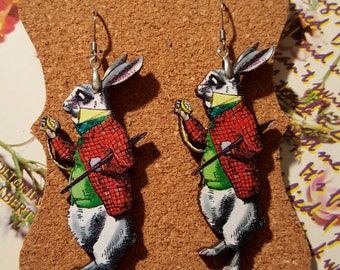 White Rabbit Earrings Alice in Wonderland Earrings handmade wood earrings wonderland rabbit earrings pocket watch rabbit earrings