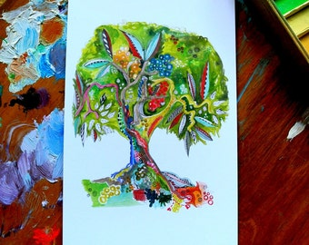SALE - tree of life - celebration - 4 x 6 inches