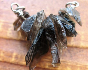 Raw Hammered Smokey Quartz Pendant Connector no.1 - 25 by 23mm