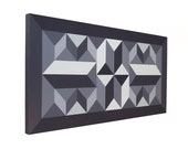 Geometric Painting Grayscale Wall Art Black And White Art Original Modern Abstract 24x12 Optical Maze Artwork
