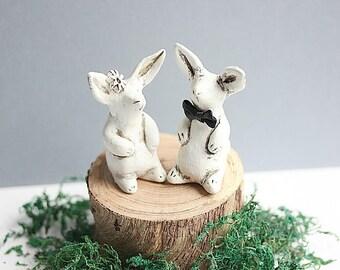 Clay Bunny -Bunnies Cake topper-Love Bunnies - Bunnies Sculpture- Rabbit Cake topper-Rustic Wedding Cake Topper