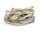 Handdyed recycled sari silk ribbon, 10metres Pebble, grey scale, charcoal silver grey, textile arts, uk seller