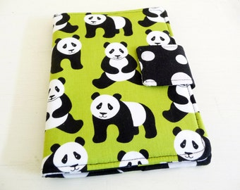 Panda Bear Kindle Cover, Kobo Touch Case, Lime Green Soft Book Style, Ready to Ship