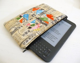 Patchwork Kindle Keyboard Case, Asian Fabrics Flying Geese Kindle 3 Sleeve