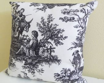Classic Toile Pillow Cover, Cushion Cover 16 inch square, black and cream, single cover
