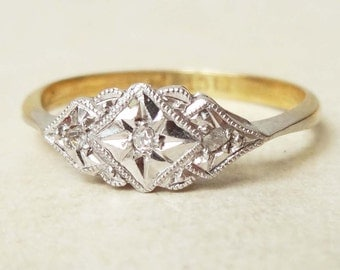 Art Deco Eastern Inspired Geometric Ring, Vintage 18k Gold, Platinum and Diamond Engagement Ring, Approx Size 6.5