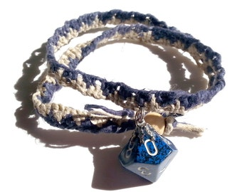 Blue D10 Hemp Masculine Gamer Necklace