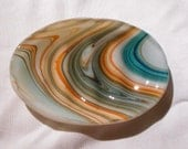 Glass Soap Dish, Limited Edition Southwest Streaked Fused Glass, Handmade Home and Living, Blue, Orange, White, Brown and Tan Glass