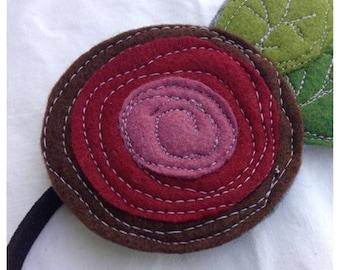 SALE- Felt Headband/Brooch-The Little Garden Bloom-Single Bloom-Mulberry