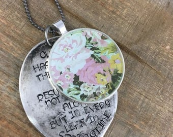 50% OFF- Stamped Spoon Necklace-Stamped Jewelry-Floral Resin Bezel-Martin Luther Quote