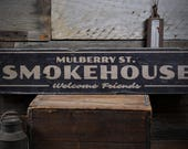 Welcome Smokehouse Sign, Wood Custom BBQ Sign, Dad BBQ Lover Gift for Smokehouse Decor, Rustic HandMade Vintage Wooden Sign ENS1001816